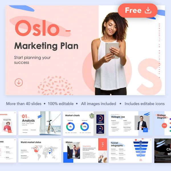 Oslo Free Marketing Plan Presentation by Slidecore