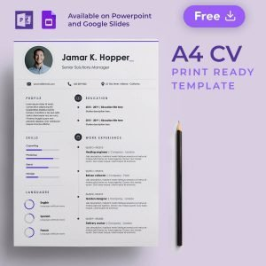 Line • A4 CV Free Presentation Template by Slidecore