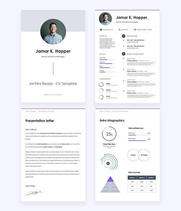 Line • A4 CV Free Presentation Template by Slidecore
