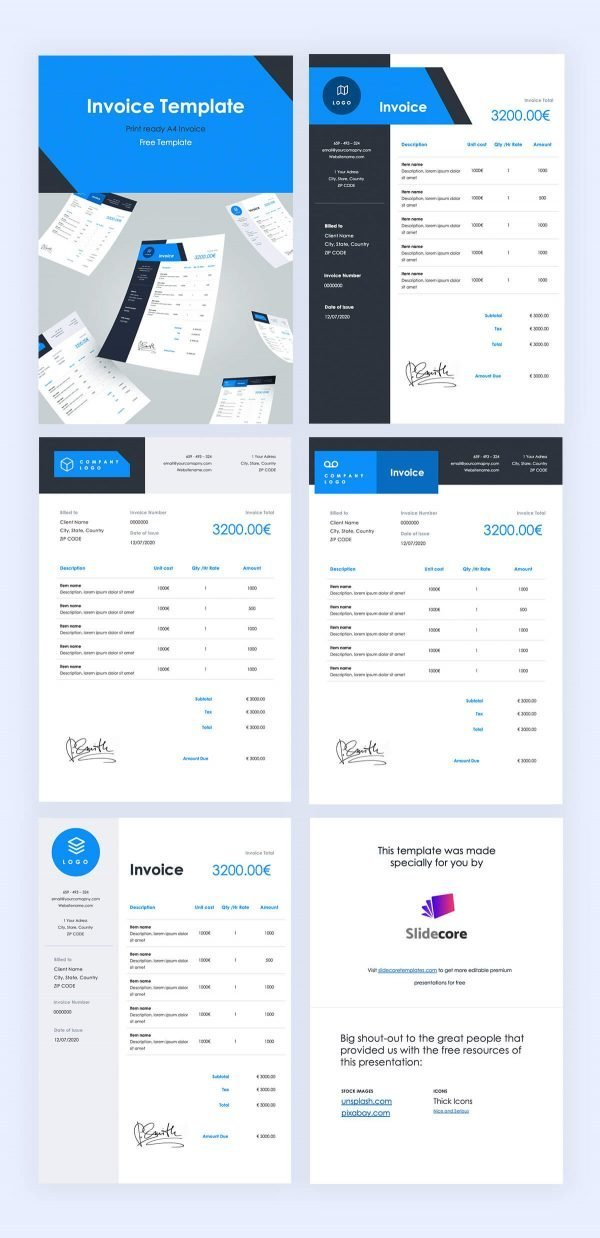 Leo - Invoice Print Template by Slidecore