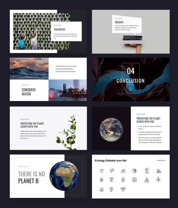 Grøn Climate Change presentation free template by Slidecore