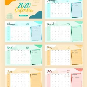 2020 Calendar Free Template for Powerpoint (PPT) and Google Slides-pages-1